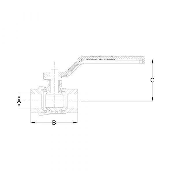 LI-BV-01-SE 2-Pc. Screwed End Stainless Steel Ball Valve